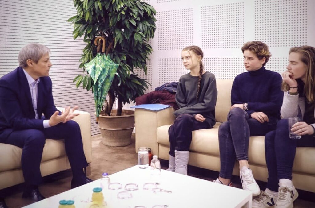 Greta Thunberg and Dacian Ciolos