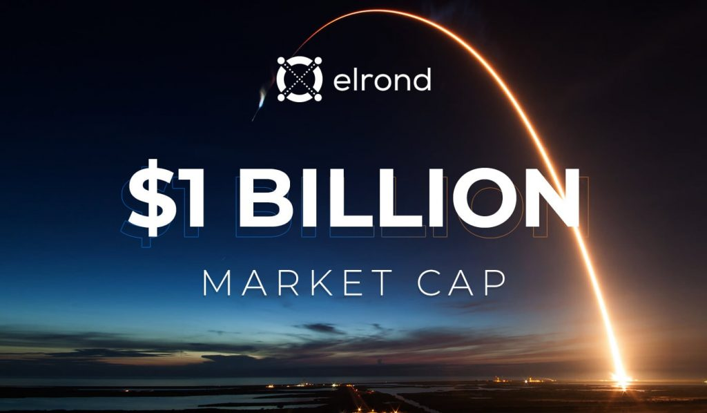 Elrond Network company announcing they reached a market cap of 1 Billion USD