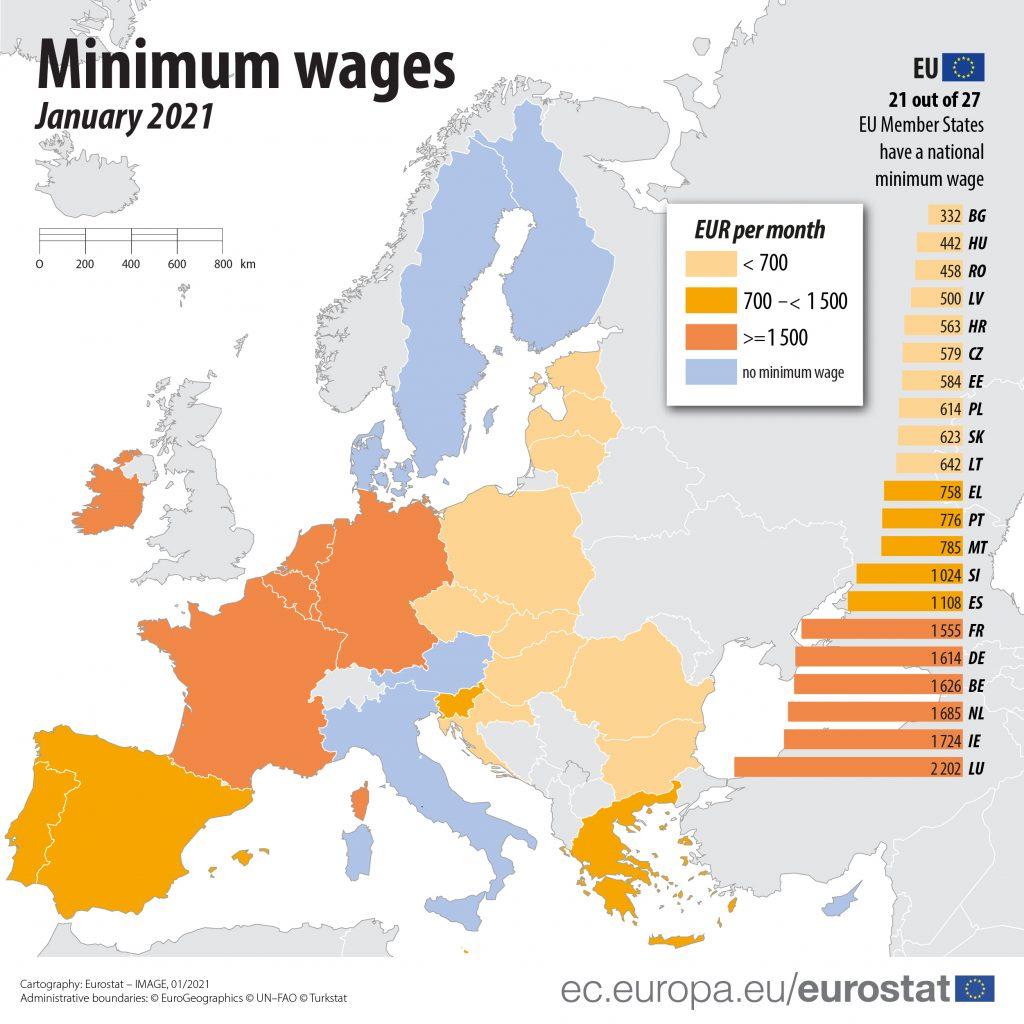 Eurostat minimum wage map