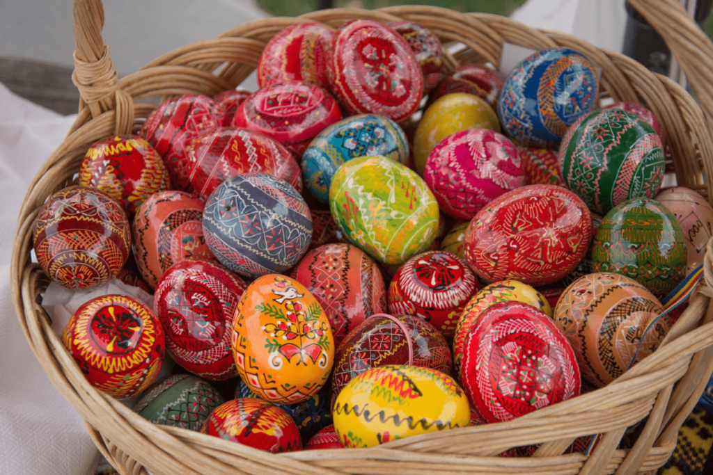 Red eggs for Easter in Romania