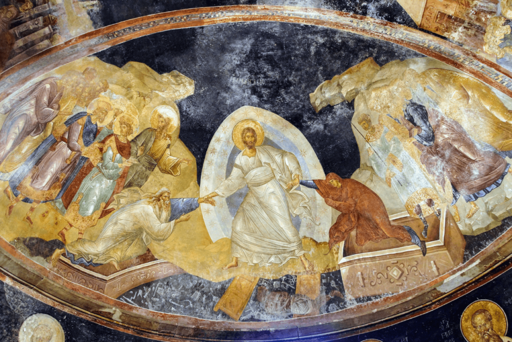 Religious scene painted in an Orthodox church in Romania