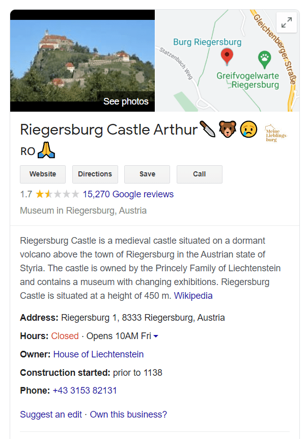 Riegersburg downgraded in review ranking by Romanians after the owner shot Arthur, the biggest bear in the European Union