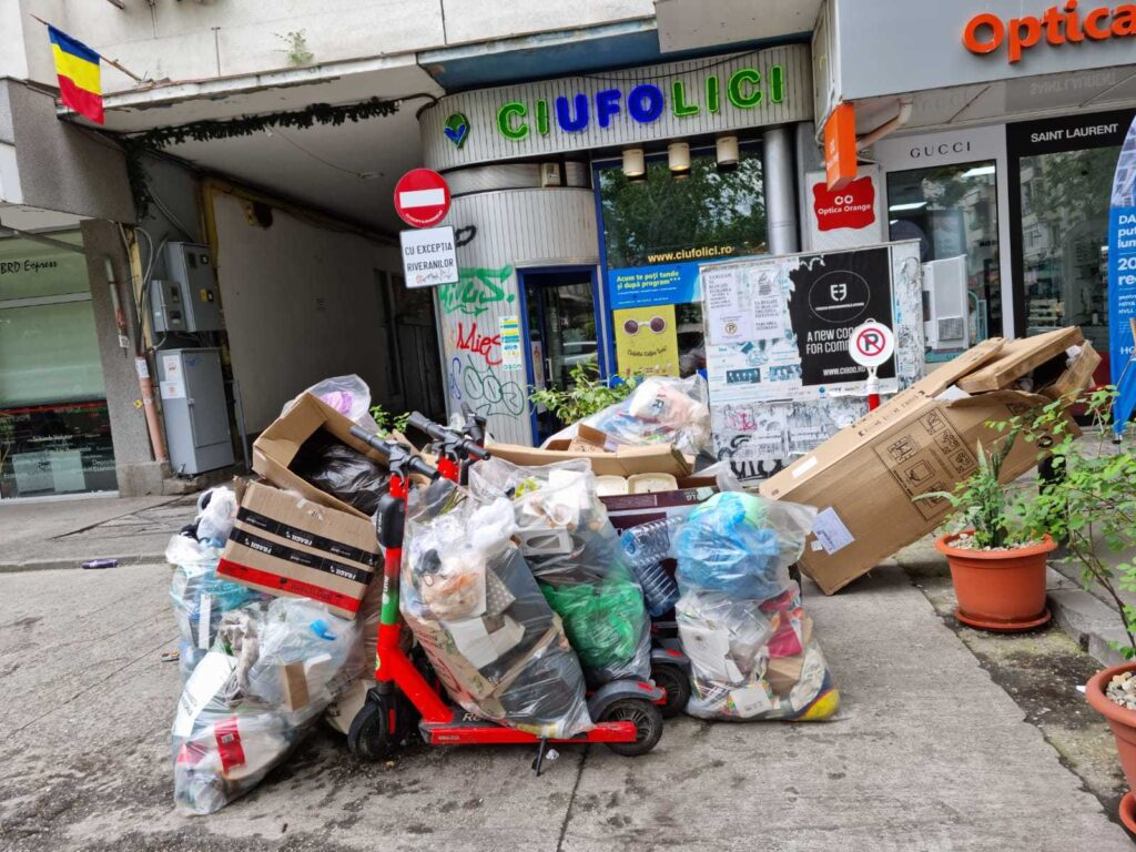 Littered streets of Bucharest, Romania, Sector 1
