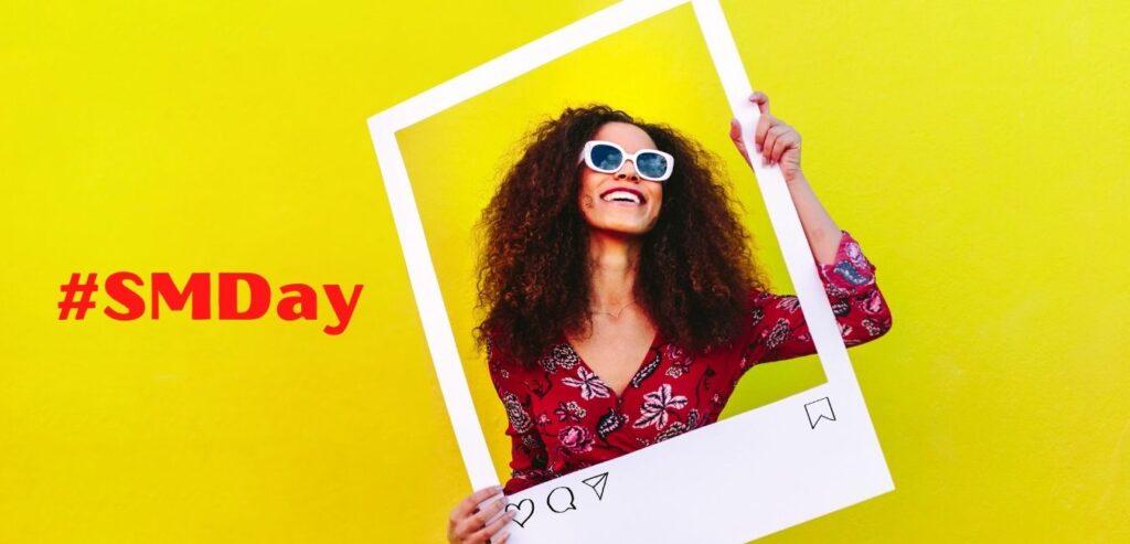 girl celebrating social media day